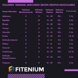 Volumen semanal adecuado según grupos musculares