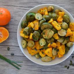 Coles de Bruselas y calabaza asada. Recetas de cocina fáciles, sencillas y deliciosas