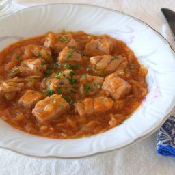 Atún, cebollas y pimentón. Receta sana, fácil y sencilla